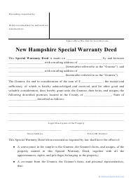 """""""Special Warranty Deed Form"""" - New Hampshire"""