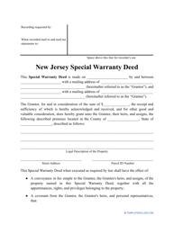 """Special Warranty Deed Form"" - New Jersey"