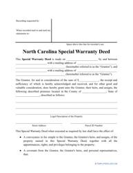 """""""Special Warranty Deed Form"""" - North Carolina"""