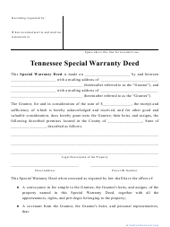 """""""Special Warranty Deed Form"""" - Tennessee"""