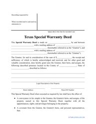 """""""Special Warranty Deed Form"""" - Texas"""