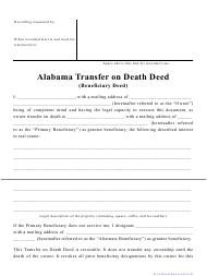 """""""Transfer on Death Deed Form"""" - Alabama"""