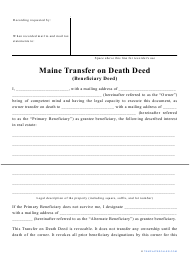 """""""Transfer on Death Deed Form"""" - Maine"""
