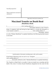 """Transfer on Death Deed Form"" - Maryland"