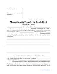 """Transfer on Death Deed Form"" - Massachusetts"