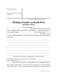 """""""Transfer on Death Deed Form"""" - Michigan"""