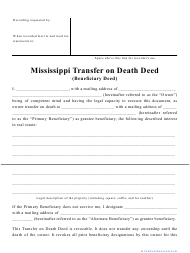 """""""Transfer on Death Deed Form"""" - Mississippi"""
