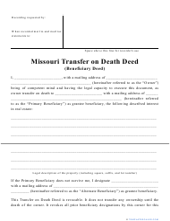 """Transfer on Death Deed Form"" - Missouri"