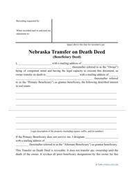 """Transfer on Death Deed Form"" - Nebraska"
