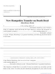 """""""Transfer on Death Deed Form"""" - New Hampshire"""