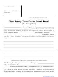 """""""Transfer on Death Deed Form"""" - New Jersey"""