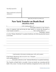 """Transfer on Death Deed Form"" - New York"