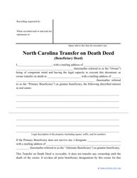 """""""Transfer on Death Deed Form"""" - North Carolina"""