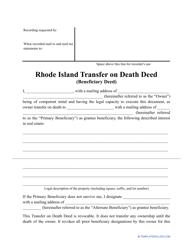 """""""Transfer on Death Deed Form"""" - Rhode Island"""