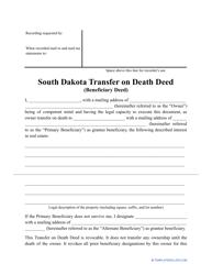 """Transfer on Death Deed Form"" - South Dakota"