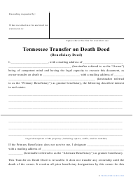 """""""Transfer on Death Deed Form"""" - Tennessee"""