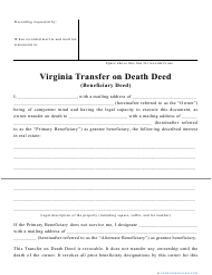 """Transfer on Death Deed Form"" - Virginia"