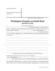 """""""Transfer on Death Deed Form"""" - Washington"""
