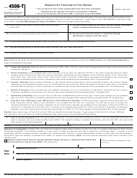 "IRS Form 4506-T ""Request for Transcript of Tax Return"""