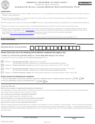 "Form PS33203 ""Commercial Driver License Medical Self-certification Form"" - Minnesota"