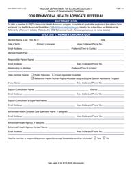 """Form DDD-2093A """"Ddd Behavioral Health Advocate Referral"""" - Arizona"""