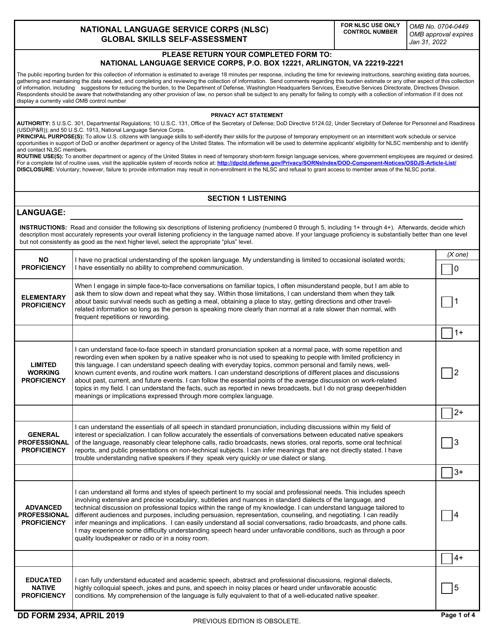 DD Form 2934 Printable Pdf
