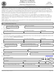 """USCIS Form N-426 """"Request for Certification of Military or Naval Service"""""""