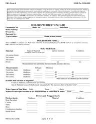 """FRA Form 4 """"Boiler Specification Card"""""""