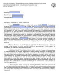 "Form DFPI-802 ""Electronic Surety Bond - California Financing Law"" - California"