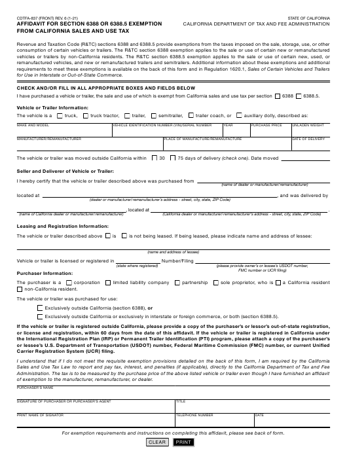Form CDTFA-837 Printable Pdf