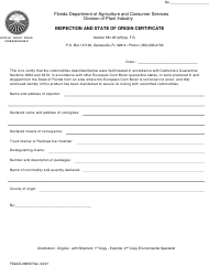 """Form FDACS-08050 """"Inspection and State of Origin Certificate"""" - Florida"""