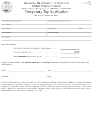 "Form MVR-1 ""Temporary Tag Application"" - Alabama"