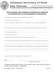"""Application for Foreign Cooperative Seeking Authorization to Do Business in Arkansas"" - Arkansas"