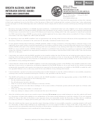 """Form DAH H66 """"Breath Alcohol Ignition Interlock Device (Baiid) Terms and Conditions"""" - Illinois"""