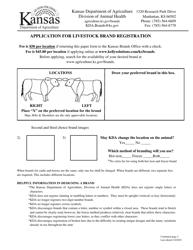 """Application for Livestock Brand Registration"" - Kansas"