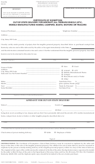"""Form 51A154 """"Certificate of Exemption out-Of-State Delivery for Aircraft, All Terrain Vehicle (Atv), Mobile/Manufactured Homes, Campers, Boats, Motors or Trailers"""" - Kentucky"""