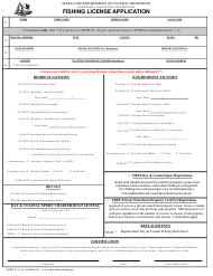 "DNR Form F-3 ""Fishing License Application"" - Maryland"