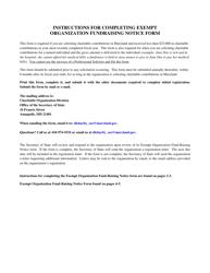 """Exempt Organization Fund-Raising Notice"" - Maryland"