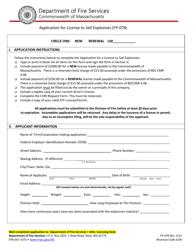 "Form FP-078 ""Application for License to Sell Explosives"" - Massachusetts"
