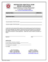 "Form BFS-210 ""Instructor I Practical Exam Retest Application"" - Michigan"