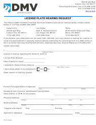 "Form SP75 ""License Plate Hearing Request"" - Nevada"