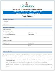 """Strategic Initiatives Fund (Sif) Strategic Growth & Development - Final Report"" - New Brunswick, Canada, 2022"