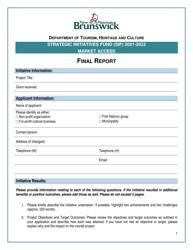 """Strategic Initiatives Fund (Sif) Market Access - Final Report"" - New Brunswick, Canada, 2022"