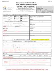 "Form FQM-012E-01 ""Environmental Submission Form (Fluff and Environmental Sample)"" - British Columbia, Canada"