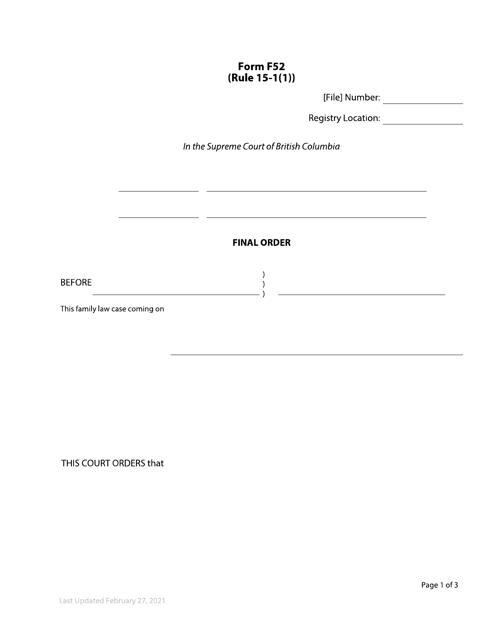 Form F52 Printable Pdf