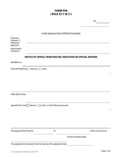 Form F98 Printable Pdf