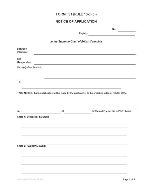Form F31 Printable Pdf