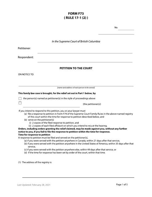 Form F73 Printable Pdf