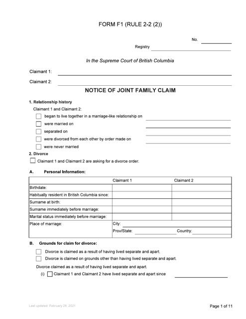 Form F1 Printable Pdf