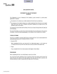 "Form SJ-837A ""Statement in Lieu Testimony"" - Quebec, Canada"